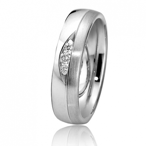 Alliance de mariage en Or Blanc 6 mm