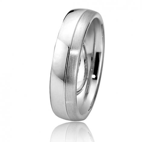 Alliance de mariage en Or Blanc 6 mm