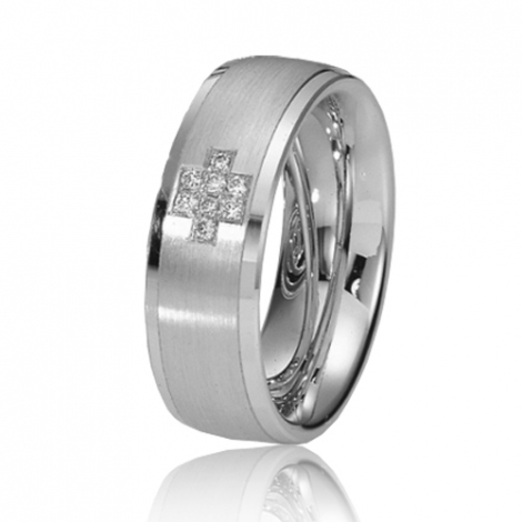 Alliance de mariage en Or Blanc 7 mm