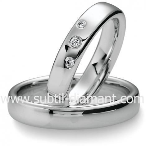Alliance Delphes en Or Blanc et diamants 4.5 mm - 04039