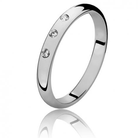 Alliance demi jonc diamant Or Blanc - 0.03 ct - Irène