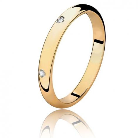 Alliance demi jonc en or jaune et diamants 0.06 ct Or Jaune - 0.06 ct - Anastasia