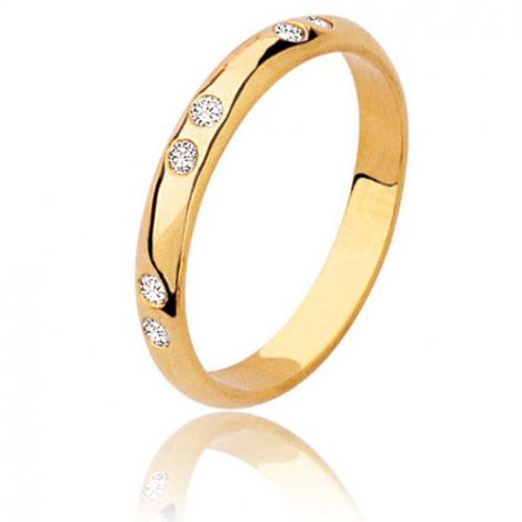 Alliance demi jonc en or jaune sertie de  3x2 diamants Or Jaune - 0.12 ct - Juliette
