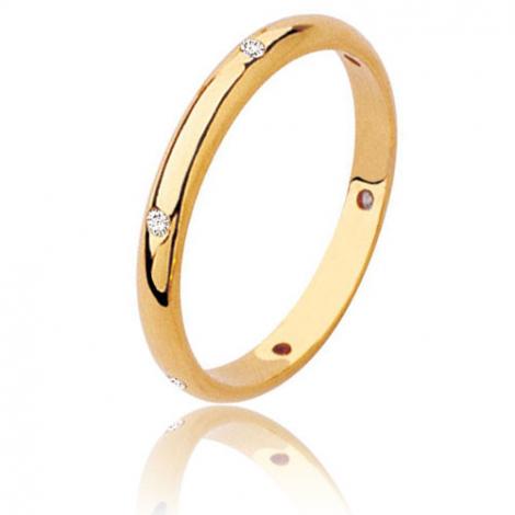 Alliance demi jonc en or jaune sertie de 6 diamants Or Jaune - 0.12 ct - Katherine