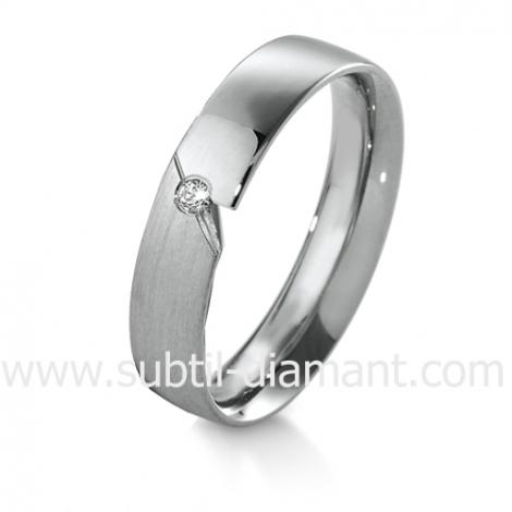 Alliance diamant et Or Blanc 4.5 mm - Angélina