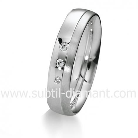Alliance diamant et Or Blanc 4.5 mm - Érika