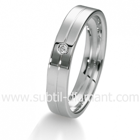 Alliance diamant et Or Blanc 4 mm - Arianna