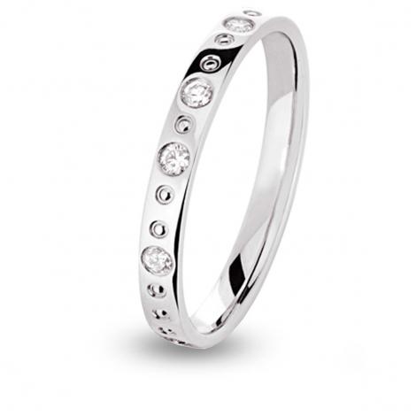 Alliance diamant Filante demi tour Or Blanc - 0.2 ct - Amoureuse