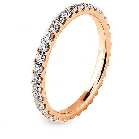 Alliance diamant tour complet serti griffes 0.75 ct Chrystel en Or Rose - 7B4075WD