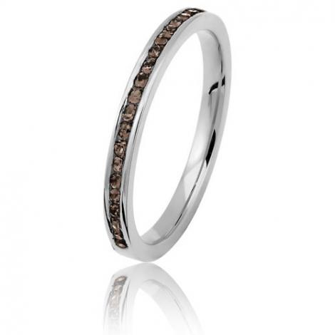 Alliance diamants chocolats - 0.20 ct - or blanc 2 mm - Serena - 11070020GCHOCO