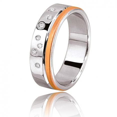 Alliance diamants Tana 0.10ct large de 6 mm or blanc et rose 2 Ors - 0.1 ct - Eternelle