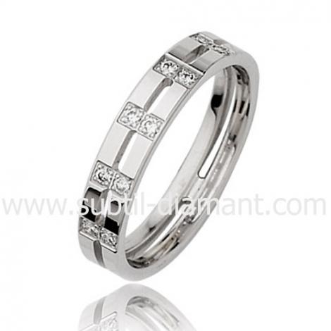 Alliance Éliane en Or Blanc et diamants 4 mm - 3630105