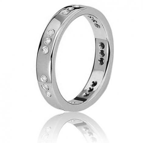Alliance fidelis en or blanc sertie de diamants 0.21ct Or Blanc - 0.21 ct - Coralie