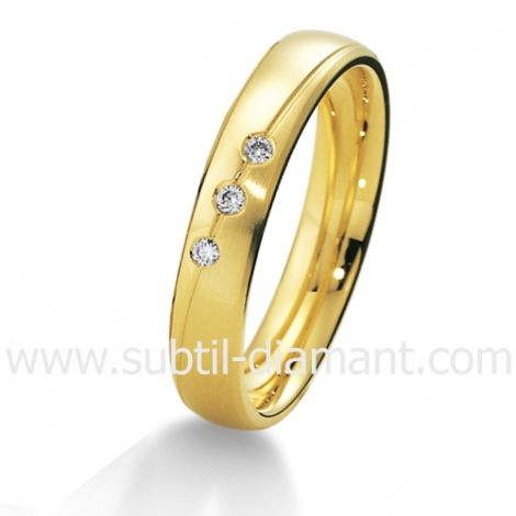 Alliance Giulia en Or Jaune et diamants 4 mm - 04015