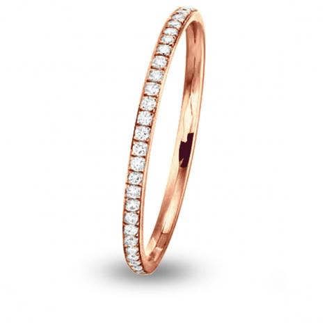 Alliance Jonc Parisien diamant demi tour Or Rose - 0.14 ct - Koralie