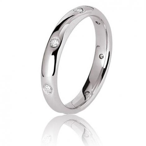 Alliance Jonc Parisien -or blanc- 3.5 m sertie de diamants 0.21 ct Or Blanc - 0.21 ct - Maeva