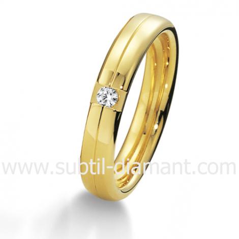 Alliance Karine en Or Jaune et diamants 4 mm - 04025