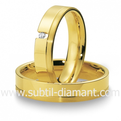Alliance Marion en Or Jaune et diamants 5 mm - 04013