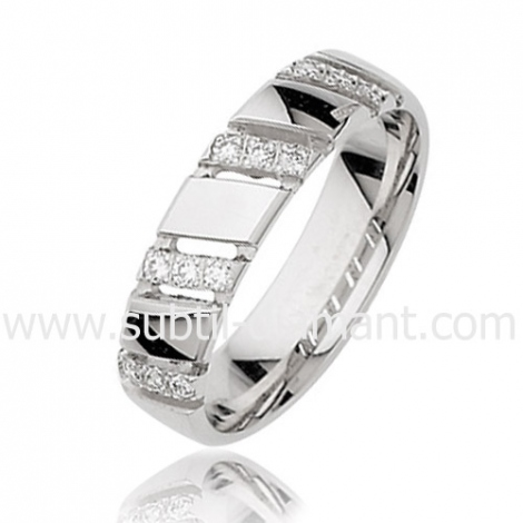 Alliance Mary en Or Blanc et diamants 5 mm - 2798125