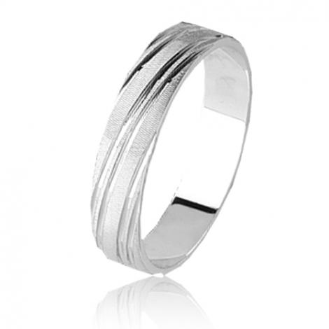 Alliance Orest en Or Blanc large de 3 mm-Amoureuse- 1034-9ct