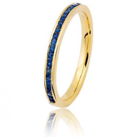 Alliance saphirs bleus sertie rail - 0.25 ct - or jaune 2 mm - Lune - 11070020JBL05