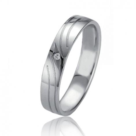 Alliance Slimline Alizée 4 mm Platine 950 diamant