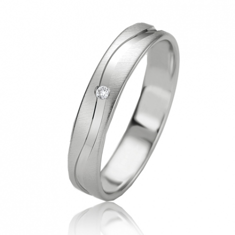Alliance Slimline Estelle 4 mm Or Blanc diamant