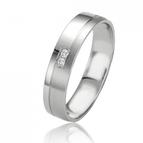 Alliance Slimline Violaine 4.5 mm Or Blanc diamant
