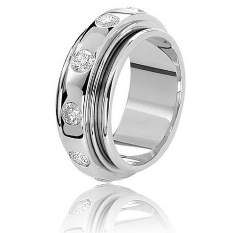 Alliance tournante Hydra serti de diamants 1.5ct Or Blanc - 1.5 ct - Alissa