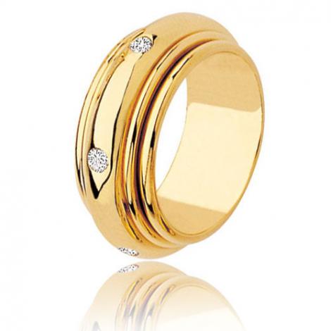Alliance tournante or jaune setie de 0.12ct de diamants Or Jaune - 0.12 ct - Mahély