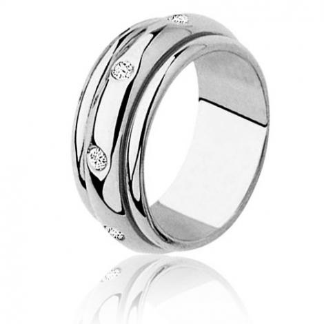 Alliance tournante sertie de diamants 0.28 ct or blanc Or Blanc - 0.28 ct - Floriane