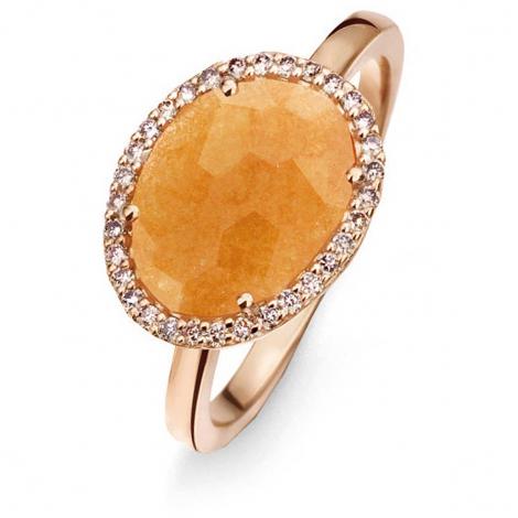 Bague Avanturine Orange et diamants bruns - One More 0.13 ct  - Stromboli 052780H3