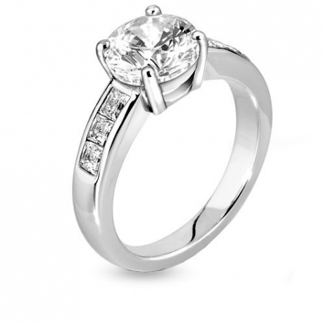 Bague de fiancaille  0.75 ct en Platine Crystelle -R1-1112-platine