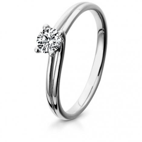 Bague de fiancaille en Or Blanc diamant de 0.10 ct - Clémence