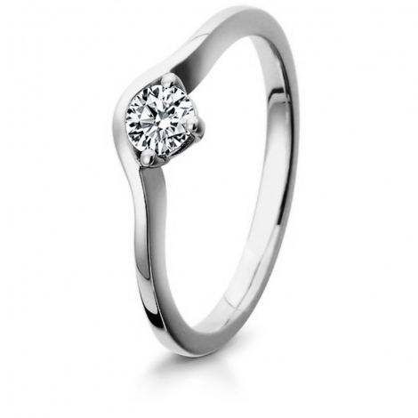 Bague de fiancaille en Or Blanc diamant de 0.10 ct - Kathy