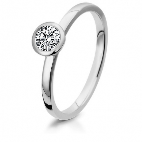 Bague de fiancaille en Or Blanc diamant de 0.10 ct - Nadya