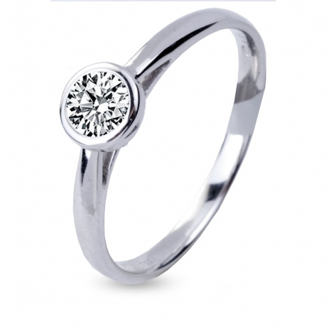 Bague de fiancaille en Or Blanc diamant de 0.10 ct - Nayla
