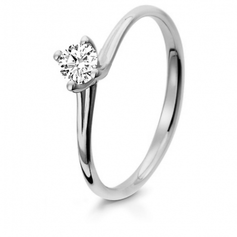Bague de fiancaille en Or Blanc diamant de 0.10 ct - Nymphea