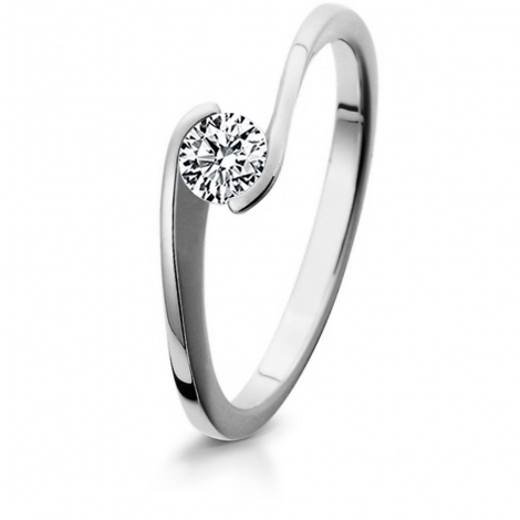Bague de fiancaille en Or Blanc diamant de 0.10 ct - Violaine
