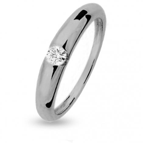 Bague de fiancaille en Or Blanc diamant de 0.18 ct - Emeline