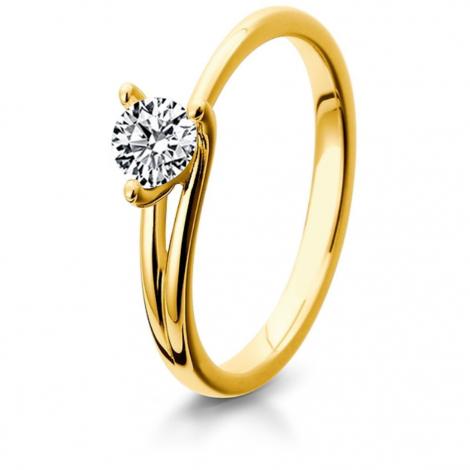 Bague de fiancaille en Or Jaune diamant de 0.10 ct - Julie