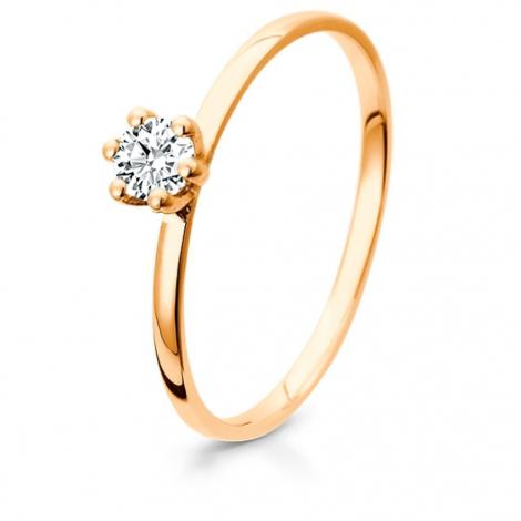 Bague de fiancaille en Or Rose diamant de 0.10 ct - Éléannor