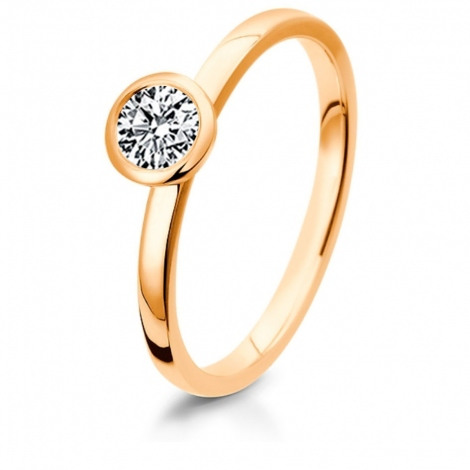 Bague de fiancaille en Or Rose diamant de 0.10 ct - Fannie