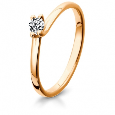 Bague diamant solitaire or rose