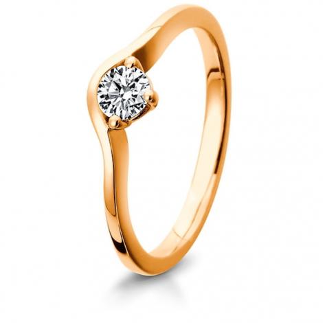 Bague de fiancaille en Or Rose diamant de 0.10 ct - Marea