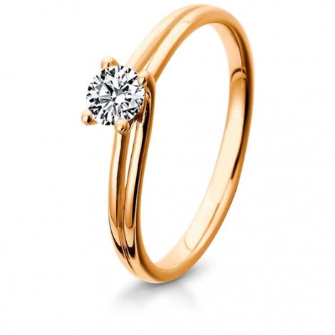Bague de fiancaille en Or Rose diamant de 0.10 ct - Sofia