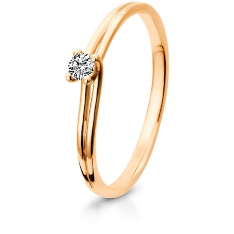 Bague fiancaille diamant or rose