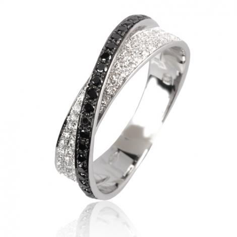 Bague diamant noir or blanc 0.45 ct Anna - 50128/A2