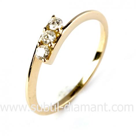 Bague diamant trilogie or 0.18 ct - Tara - 12178 BT 0.18