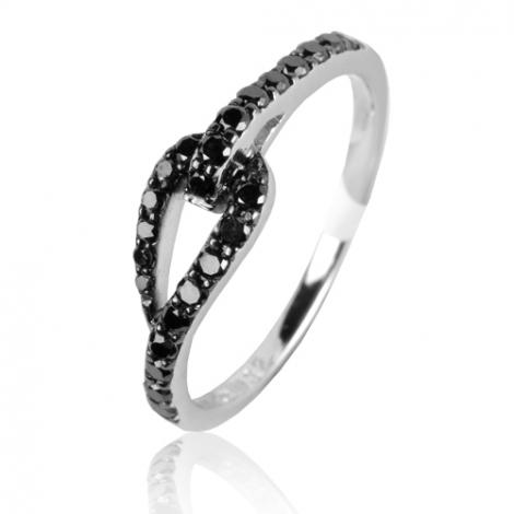 Bague diamants noirs 0.32 ct Fannie - 49607/A2